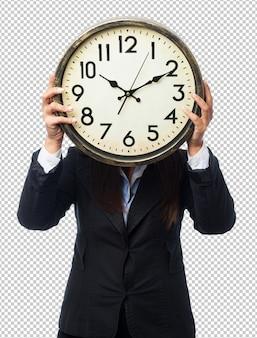 Koele onderneemster met klok