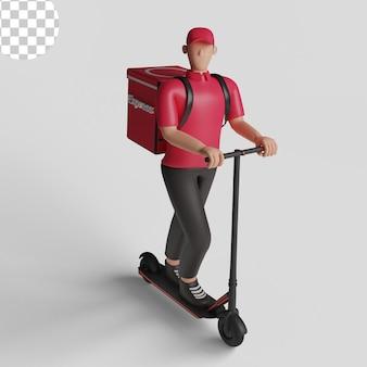 Koerier op een scooter, bezorger. psd premium
