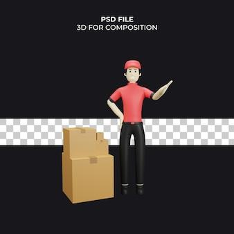 Koeriersbezorging 3d illustratie premium psd