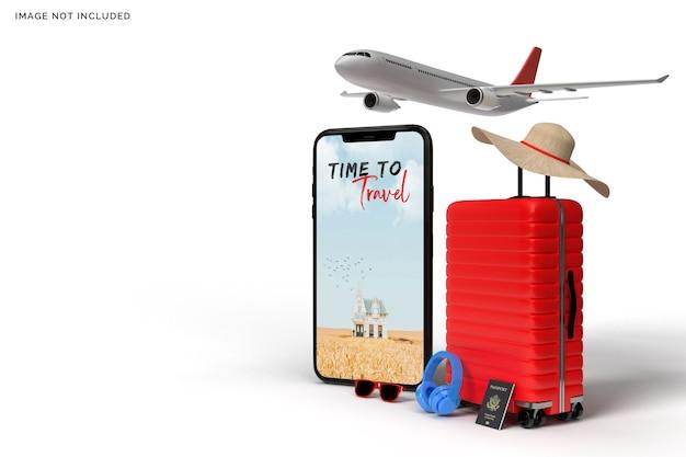 Koffer en smartphone met reisaccessoires