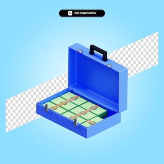 Koffer geld contant geld 3d render illustratie geïsoleerd