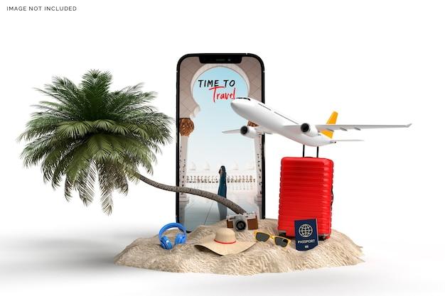 Koffer met vliegtuig, rendering van reizigerstoebehoren