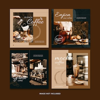 Koffie banner sociale media post sjabloon collectie