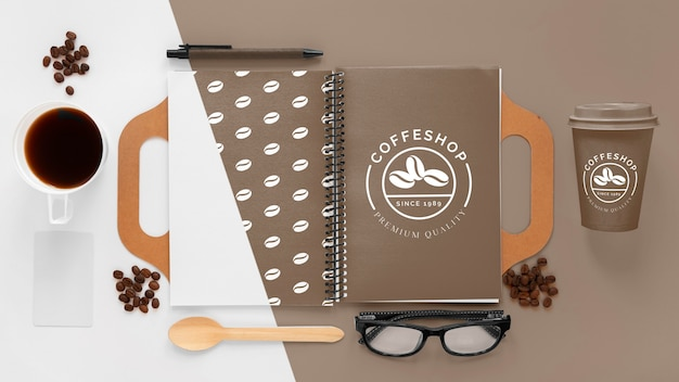 Koffie branding concept plat leggen