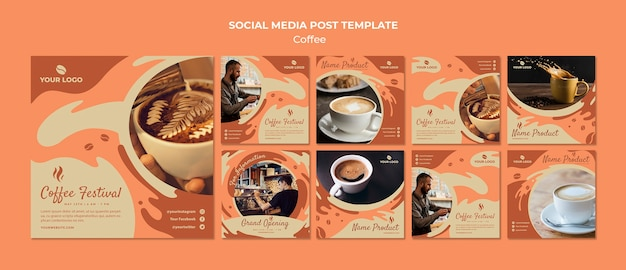 Koffie concept sociale media post sjabloon mock-up