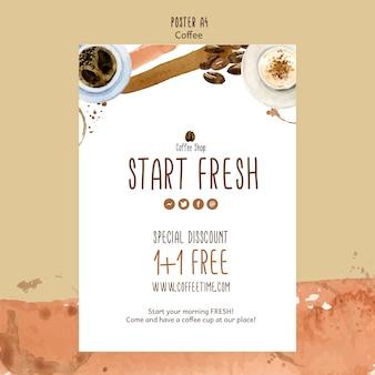 Koffie concept voor poster sjabloon