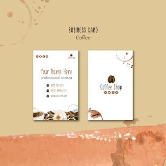 Koffie concept voor sjabloon voor visitekaartjes