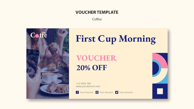 Koffie concept voucher sjabloon