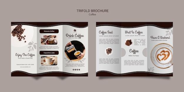 Koffie driebladige brochure sjabloon