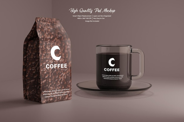 Koffie en duidelijke mok realistische mockup