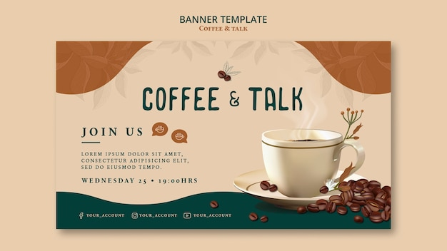 Koffie en praten sjabloon voor horizontale spandoek