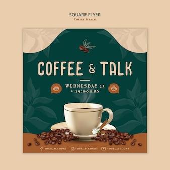 Koffie en praten vierkante flyer stijl