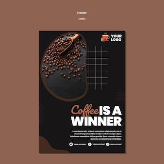 Koffie is winnaar poster sjabloon