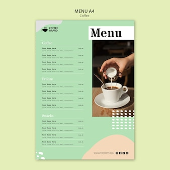 Koffie menusjabloon concept