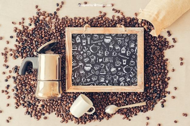 Koffie mockup met leisteen en koffiepot