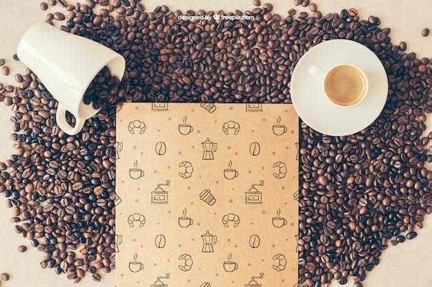 Koffie mockup met twee kopjes