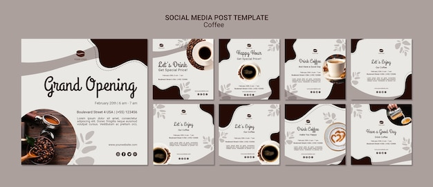 Koffie social media postsjabloon