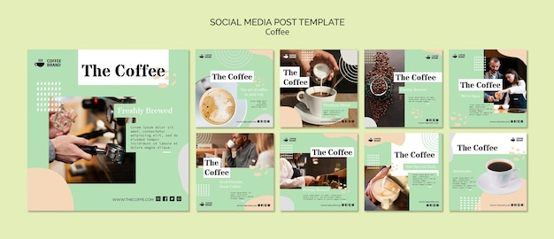 Koffie sociale media post sjabloon
