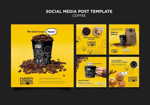 Koffie sociale media post-sjabloon