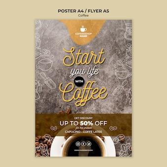 Koffie speciale aanbieding poster sjabloon