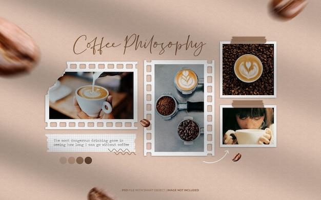 Koffie stijlvol moodboard collage mockup