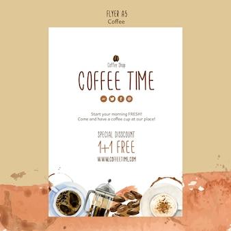 Koffie thema voor folder sjabloon