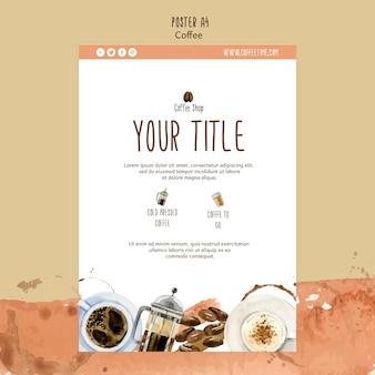 Koffie thema voor poster sjabloon