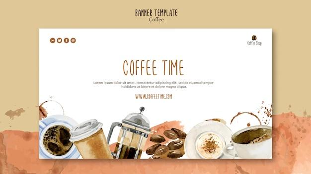 Koffie thema voor sjabloon voor spandoek