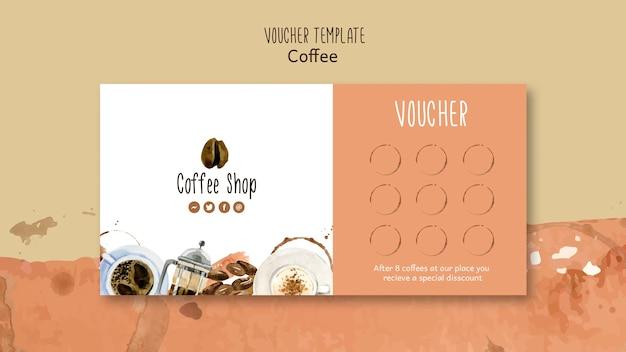 Koffie thema voor voucher sjabloon