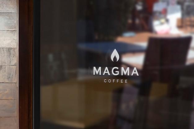 Koffie venster teken logo mockup