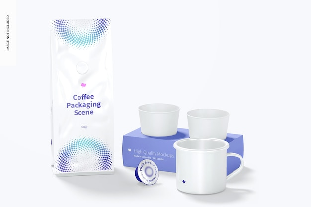 Koffie verpakking scène mockup, vooraanzicht