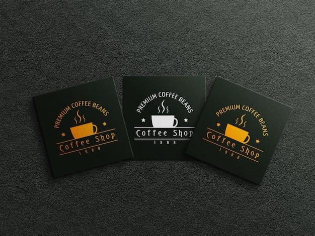 Koffie visitekaartje logo mockup met reliëf en ingeslagen effect