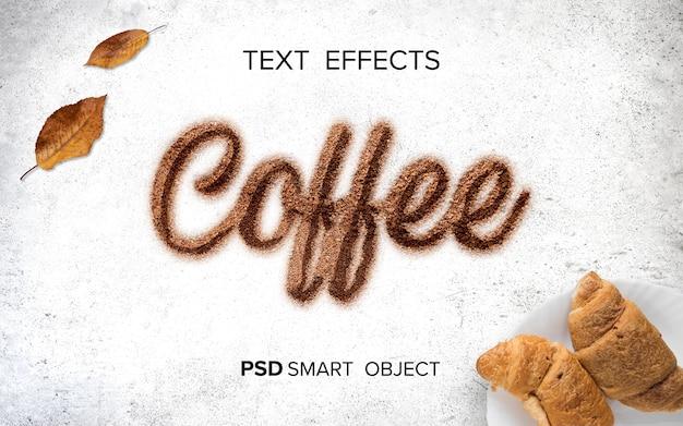 Koffie vloeibaar teksteffect