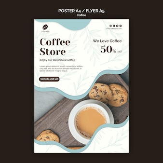 Koffie winkel poster sjabloon Gratis Psd