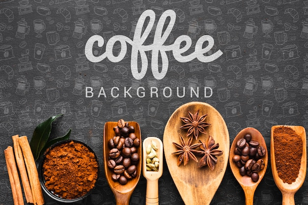 Koffieachtergrond met houten lepel voor koffie