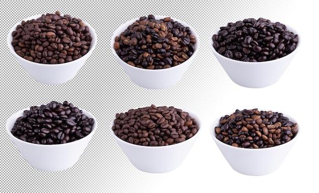 Koffiebonen in een witte kom die op een witte achtergrond wordt geïsoleerd