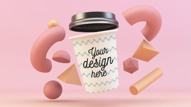 Koffiekopje drijvend met 3d-vormen mockup