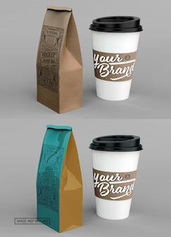 Koffiekopje en papieren zak mockup