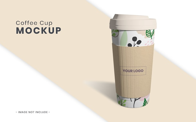 Koffiekopje met papieren mockup geïsoleerd