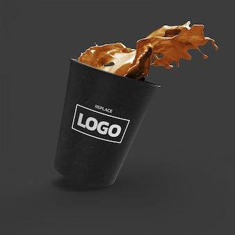 Koffiekopje mockup 3d-weergave realistisch