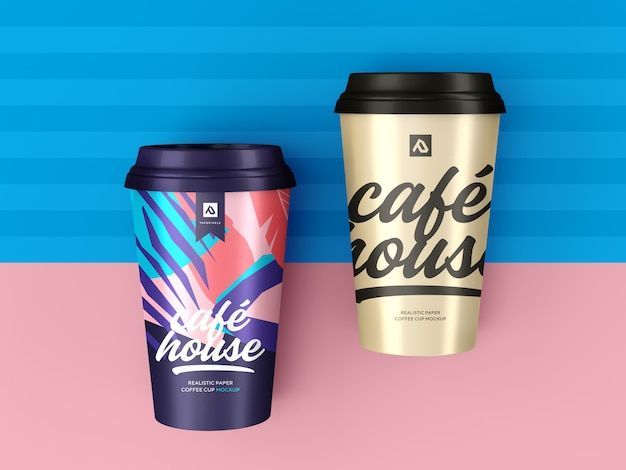 Koffiekopje mockup. afhaal koffie container