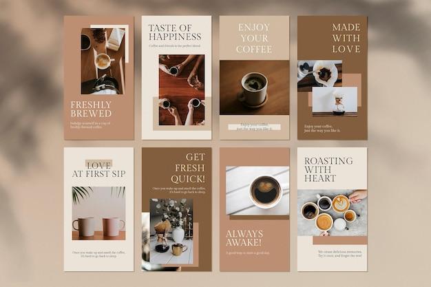 Koffieliefhebber-sjabloon psd-set voor café-thema voor sociale media