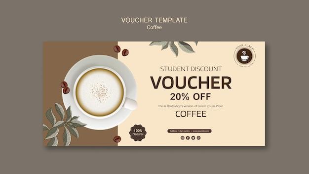 Koffievoucher sjabloon met korting