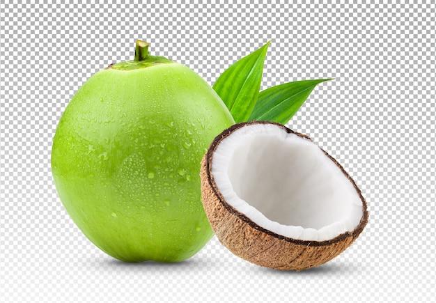 Kokosnoot en de helft van geïsoleerde kokosnoot