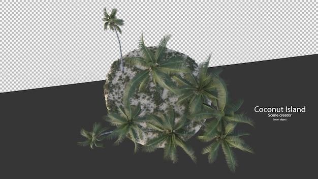 Kokospalm in 3d-rendering geïsoleerd op eiland bolvorm