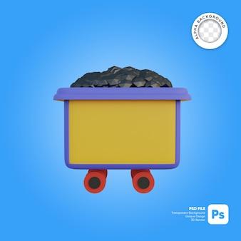 Kolenmijn kar cartoon stijl 3d-object