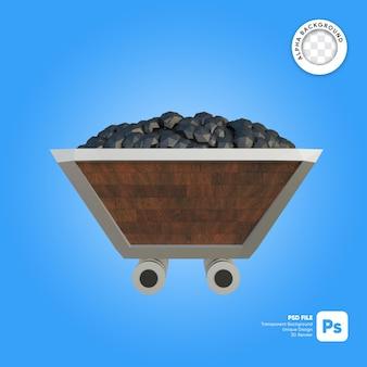 Kolenmijnkar houtstructuur 3d-object