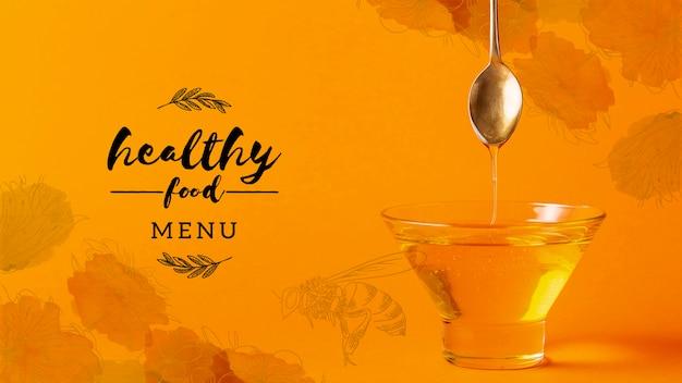 Kom met gezond honingsmodel