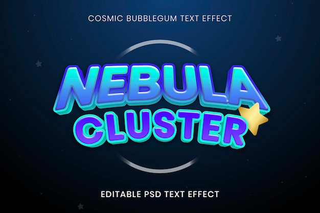 Komisch teksteffect psd-sjabloon, bubblegum-lettertypetypografie