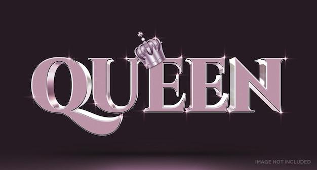 Koningin 3d-teksteffectsjabloon